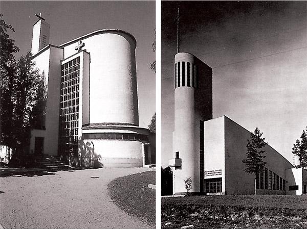 1. Nakiles baznīca. Erki Hutunens. 1937 un 2. Kannonkoski baznīca. Pauls Blomsteds. 1938