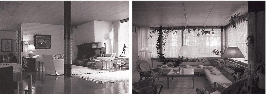 1. Mairea villas (Normarku) viesistabas interjers. Alvars Ālto. 1938 un Mairea villas (Normarku) istabas interjers. Alvars Ālto. 1938