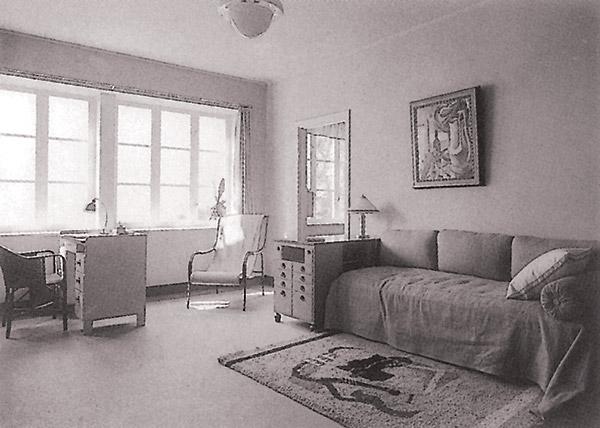 Stokholmas izstādē demonstrētais istabas interjers. Gustavs Klāsons. 1930