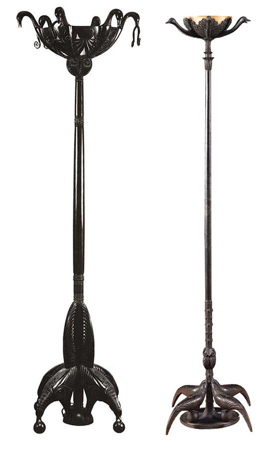 Напольные светильники из квартиры Жанны Ланвен. Бронза с патиной. 1922